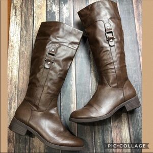 Astaire 8.5 Vegan Leather Brown Knee High Boots